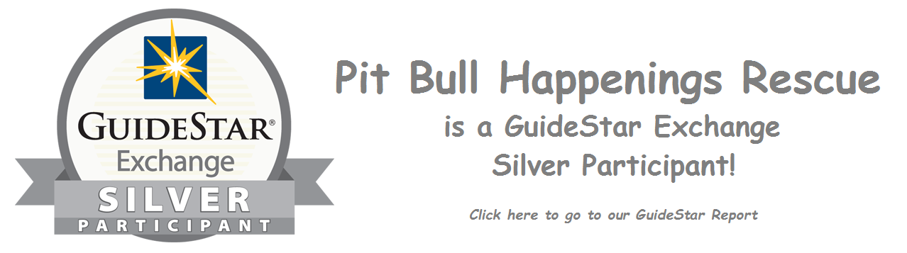 Pit Bull Happenings Rescue is a GuideStar Silver Exchange Participant